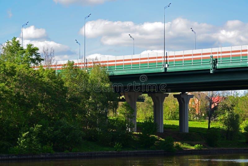 Car bridge of highway M11 in Khimki, Russia royalty free stock photos
