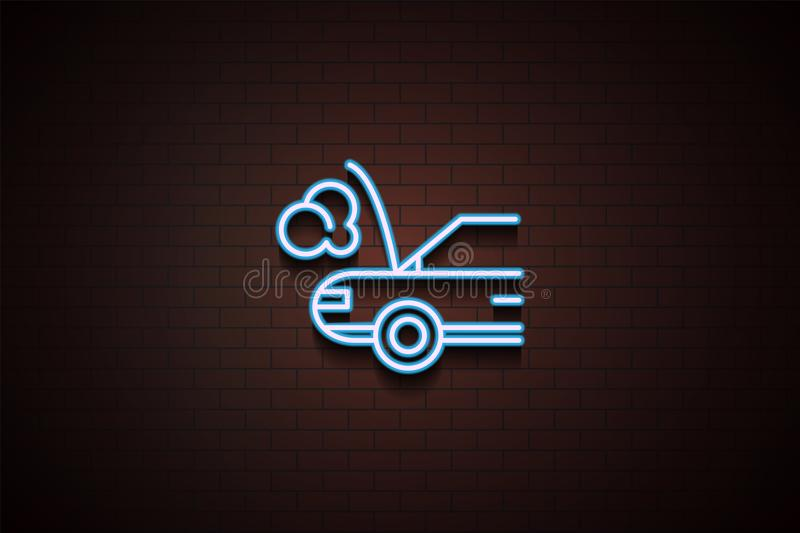 car broken down icon in Neon style on brick wall royalty free illustration