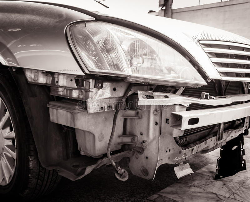 Car bumper damaged by accident