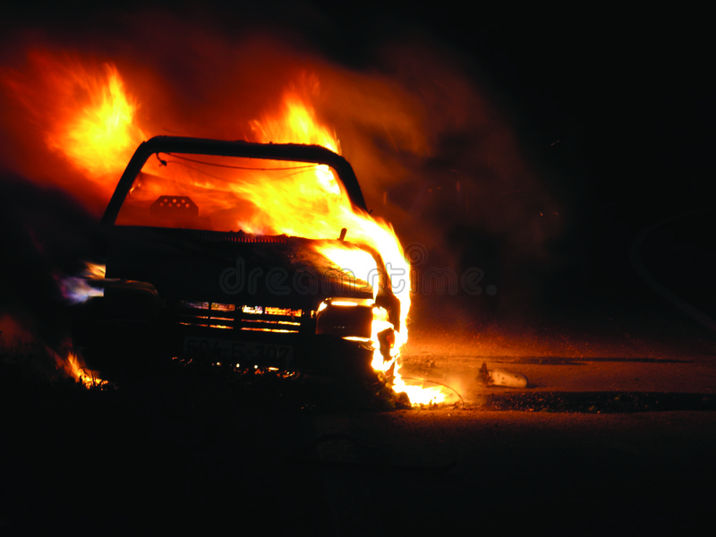 Car burning royalty free stock photos