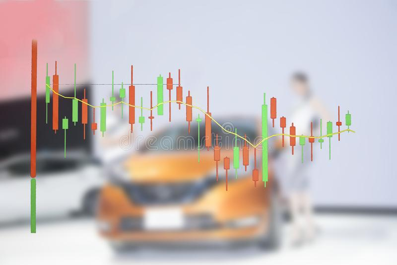Car business with stock chart a graph showing. The performance royalty free stock images