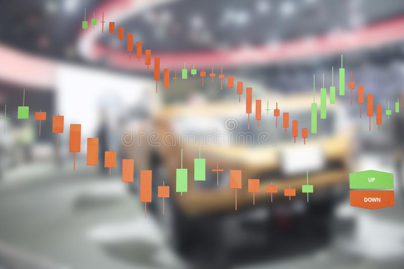 Car business with stock chart a graph showing. The performance stock image