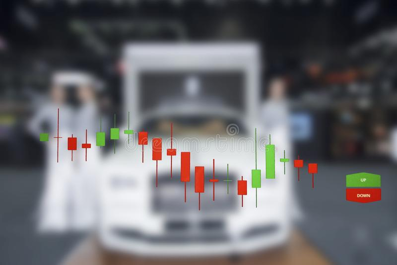 Car business with stock chart a graph showing. The performance royalty free stock image
