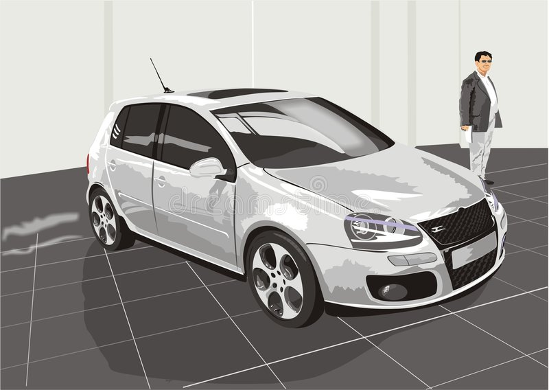 The car and the buyer stock illustration