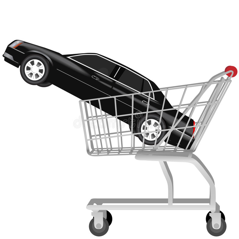 Car Buying Black Auto Shopping Cart Royalty Free Stock Photos