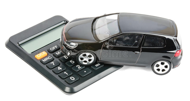 Car on calculator royalty free stock image