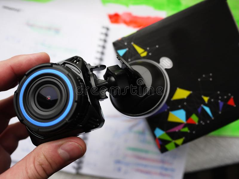 Car camcorder display. They are used to install inside the car and record what is happening on the road. stock photos