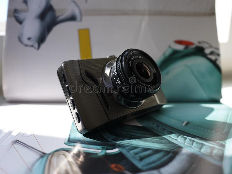 Car camcorder display. Video recorder to record the traffic situation while driving your car. It can be used both in cars and trucks royalty free stock photo