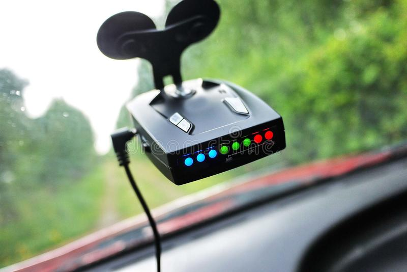 Car camcorder display. Video recorder to record the traffic situation while driving your car. It can be used both in cars and trucks stock photography