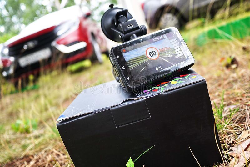 Car camcorder display. Video recorder to record the traffic situation while driving your car. It can be used both in cars and trucks stock image