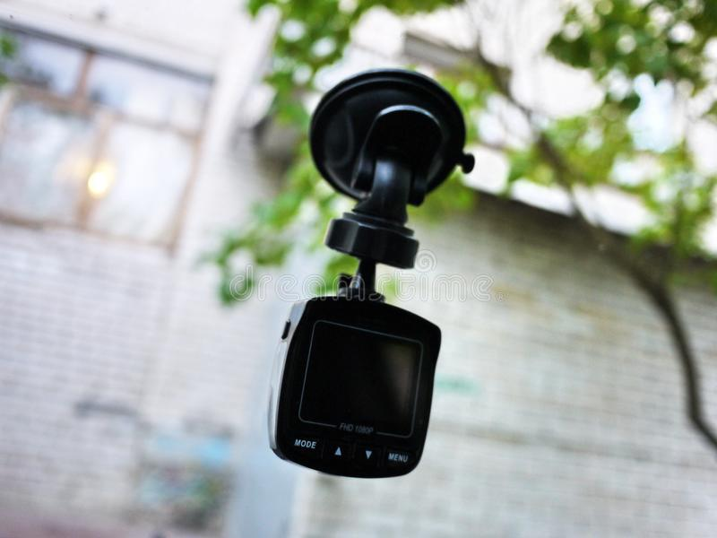 Car camcorder display. Video recorder to record the traffic situation while driving your car. It can be used both in cars and trucks stock photos
