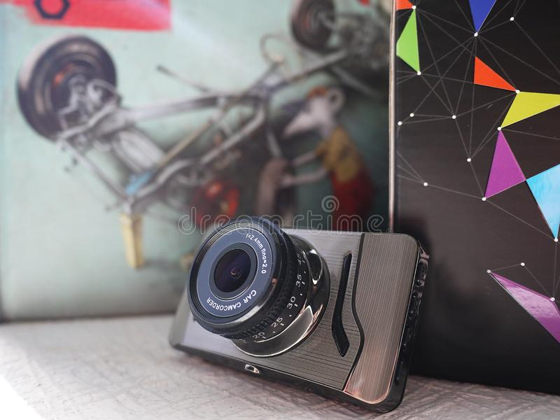 Car camcorder display. Video recorder to record the traffic situation while driving your car. It can be used both in cars and trucks royalty free stock image