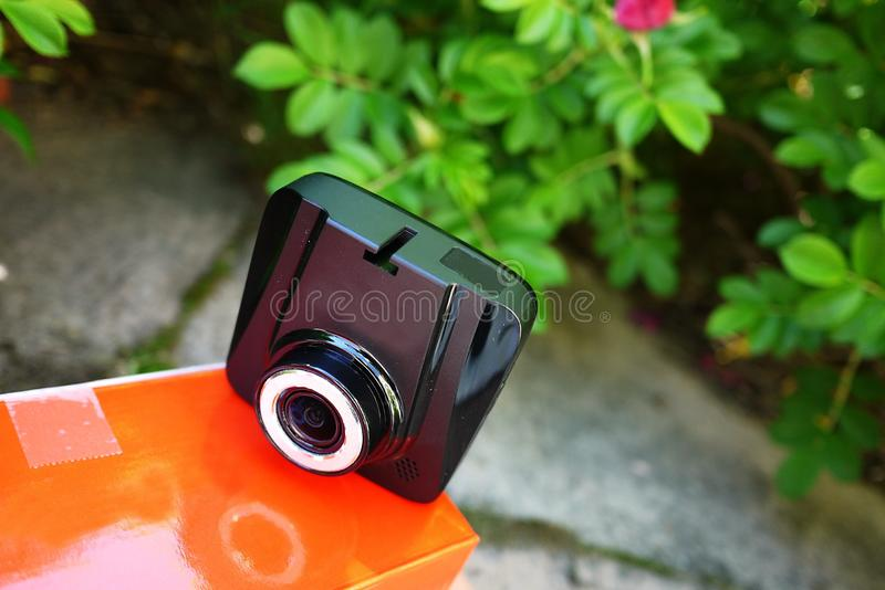 Car camcorder display. Video recorder to record the traffic situation while driving your car. It can be used both in cars and trucks stock images