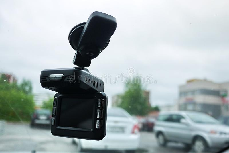 Car camcorder display. Video recorder to record the traffic situation while driving your car. It can be used both in cars and trucks royalty free stock photography