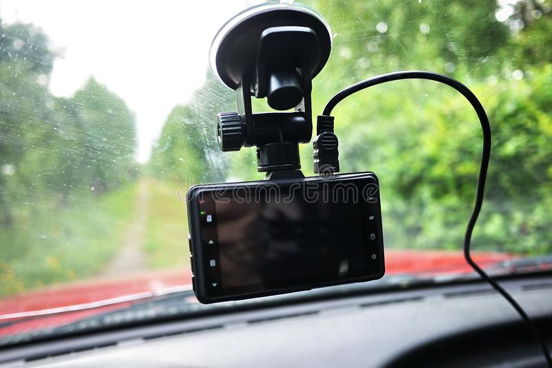 Car camcorder display. Video recorder to record the traffic situation while driving your car. It can be used both in cars and trucks royalty free stock photos