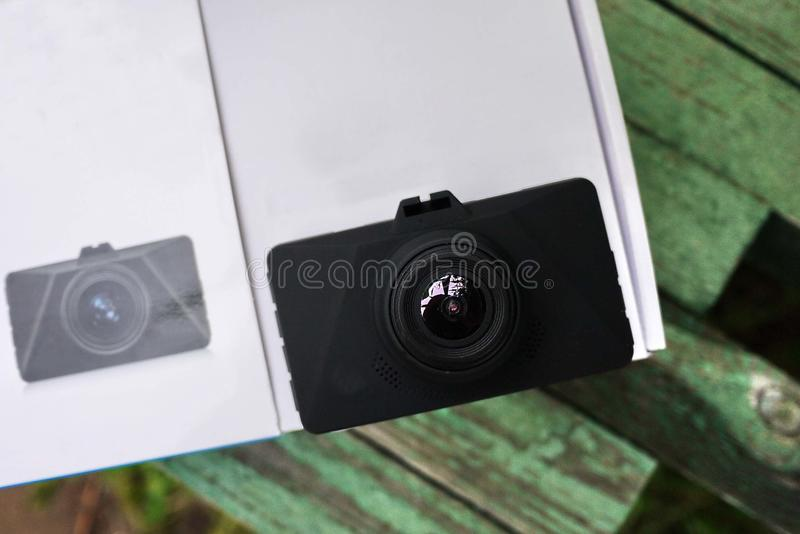 Car camcorder display. Video recorder to record the traffic situation while driving your car. It can be used both in cars and trucks stock photo