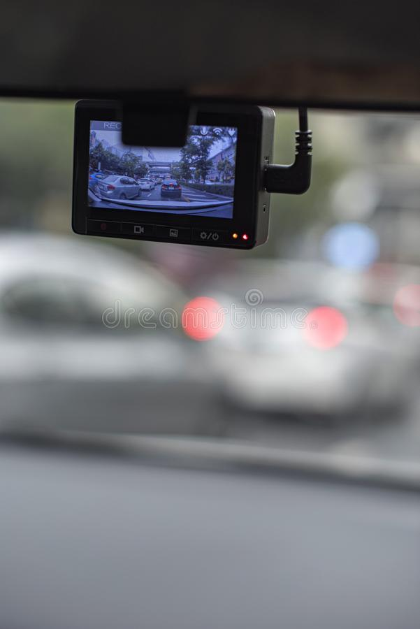 Car camera recording a traffic jam in front of a car as a normal occasion in a big city during a rush hour. Car camera recording a traffic jam in front of a car stock images