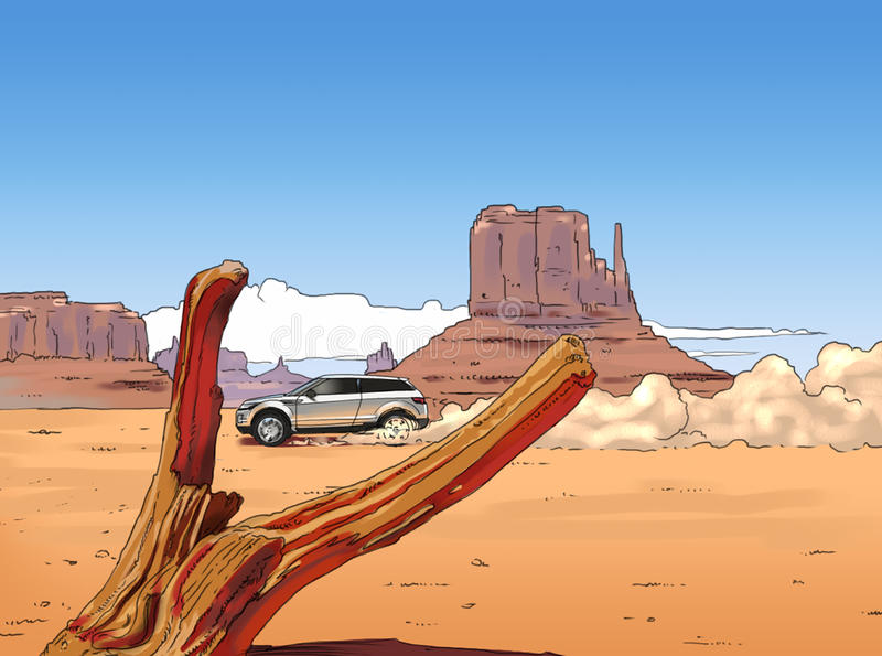 Car Canyon. Offroad, car drives through monument valley royalty free illustration