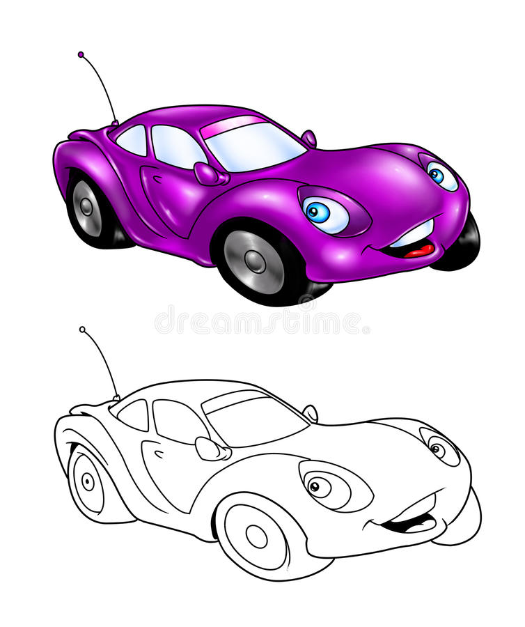 Download Car Cartoon Coloring Page 3 Royalty Free Stock Photography