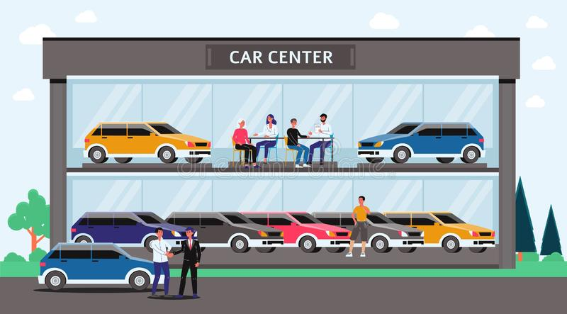 Car center - cartoon glass building with colorful cars and people inside. Automobile dealership or showroom exterior with buyers and sellers - flat vector royalty free illustration