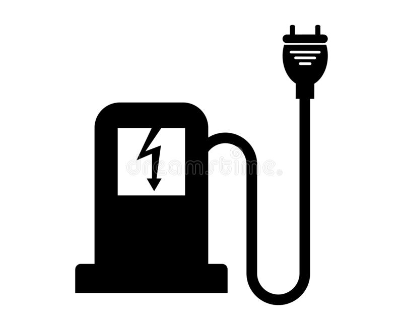 Car charger icon,Refuel cars Isolate On Black Background,Vector Illustration. Battery, power, plug, energy, electric, electricity, technology, symbol, vehicle vector illustration