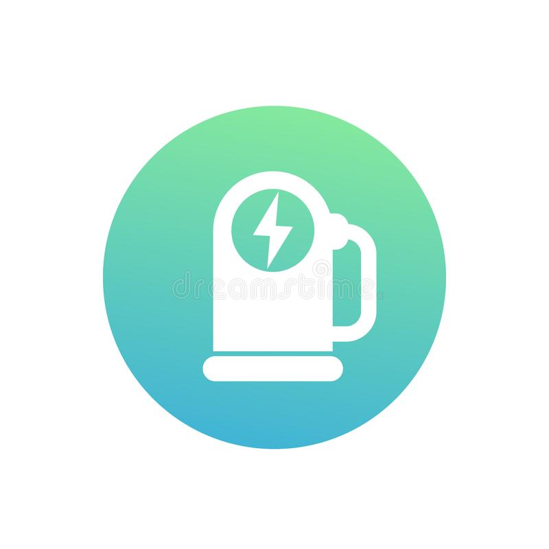 Car charging station round vector icon on white vector illustration