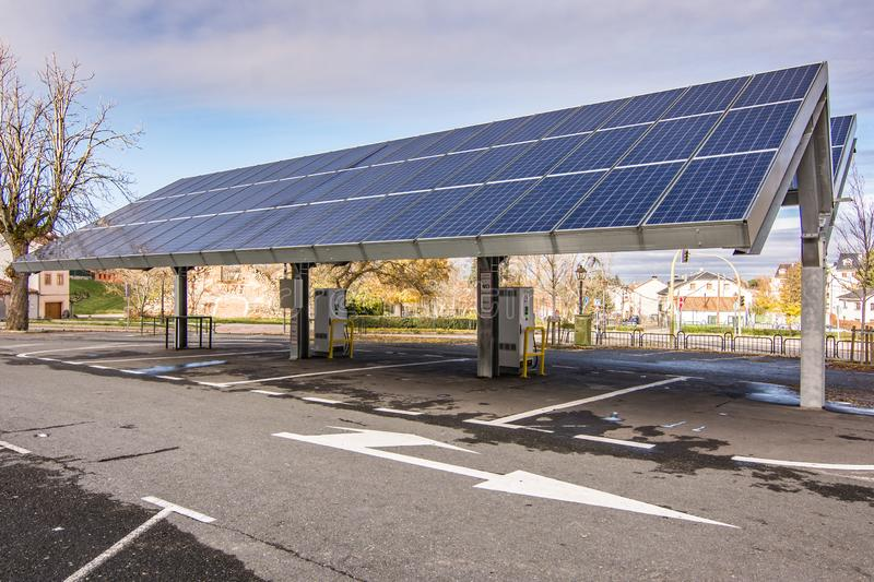 Car charging station for self-sufficient and first photovoltaic panels in Europe. it is also free.  stock photos