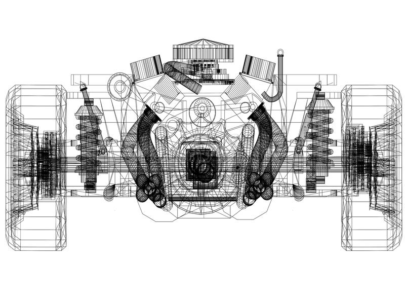Car chassis and engine Design – Blueprint - isolated royalty free illustration