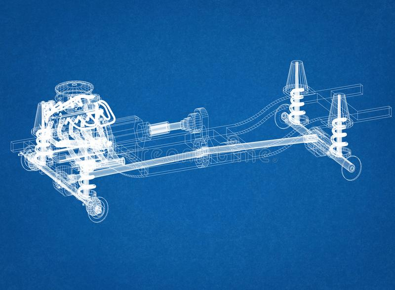 Car chassis and engine Design - Blueprint royalty free stock images