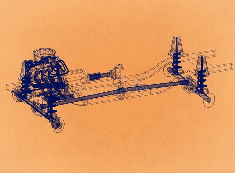 Car chassis and engine Design - Retro Architect Blueprint stock illustration