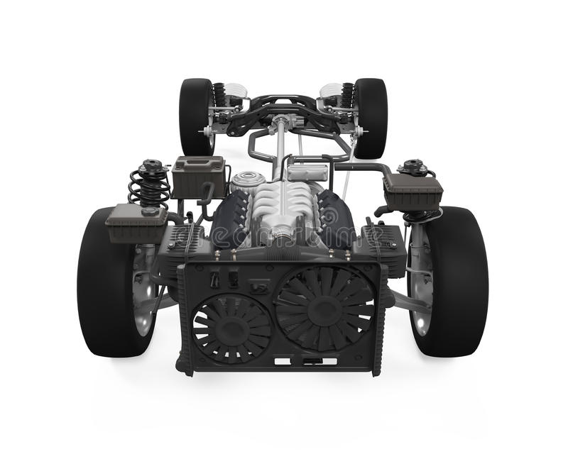 Car Chassis with Engine royalty free stock images