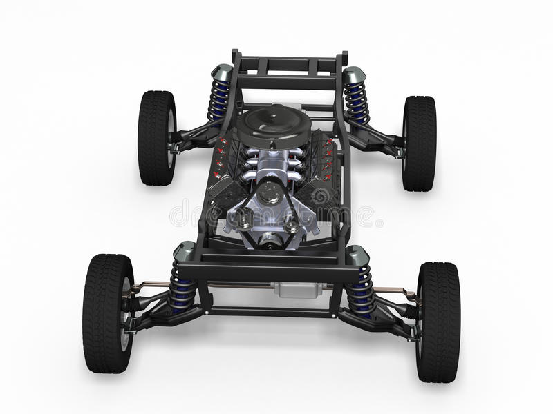 Car chassis with engine stock illustration