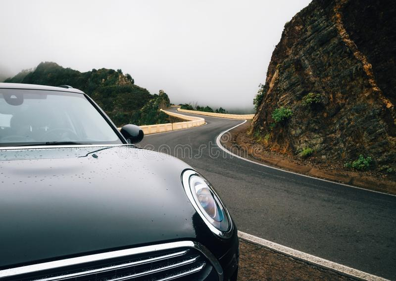 Car is on winding road stock photography