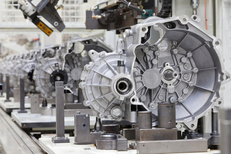Car clutch assembly line royalty free stock image
