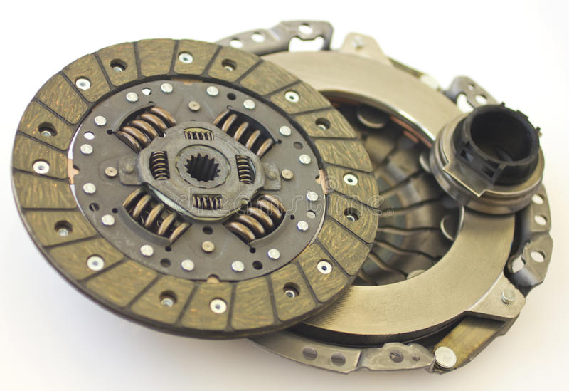 Car clutch isolated. Spare parts of motor vehicle forming clutch stock photography