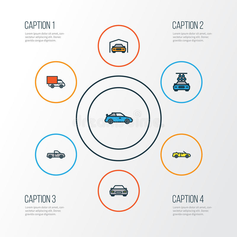 Car Colorful Outline Icons Set. Collection Of Sport, Cabriolet, Auto And Other Elements. Also Includes Symbols Such As stock illustration