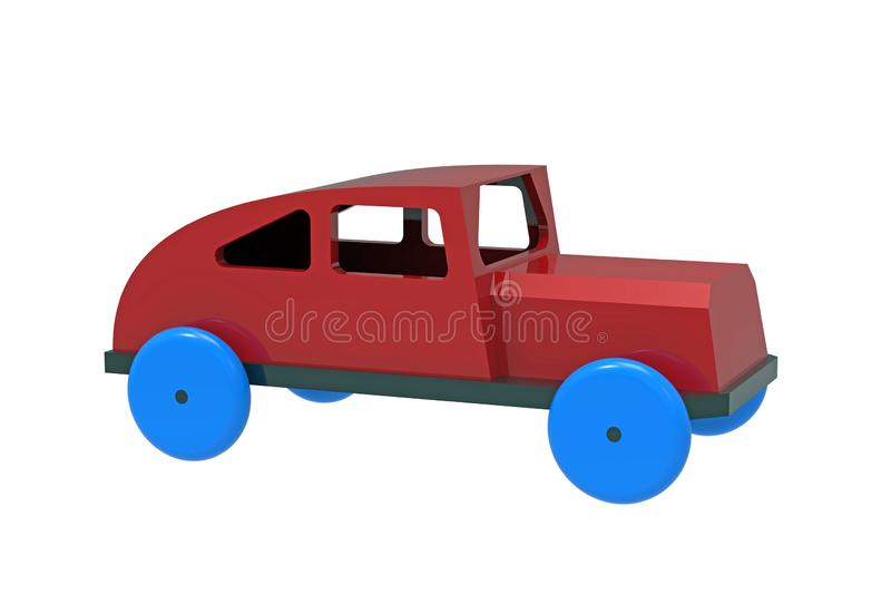 Car, colorful wooden toy stock illustration