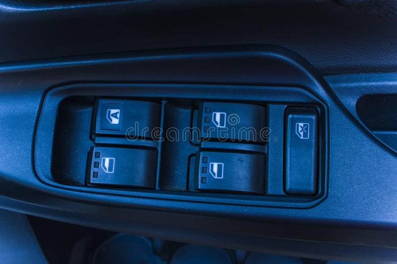 Car control panel of auto button glass door. High resolution image gallery royalty free stock photography