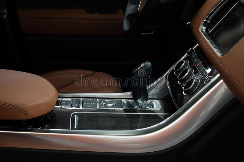 Car control panel with automatic transmission. Interior detail. royalty free stock photography