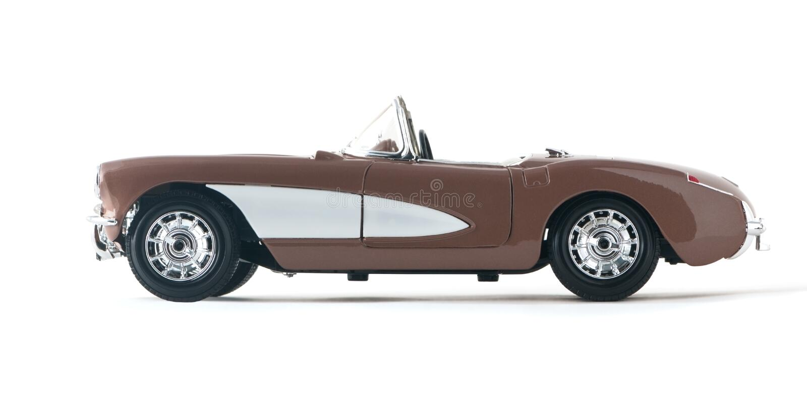 Car convertible cabriolet. Collectible toy car convertible on a white background royalty free stock photo