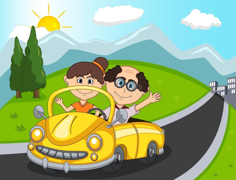 Car, a couple old passengers with hill, mountain and road background cartoon. Full color stock illustration