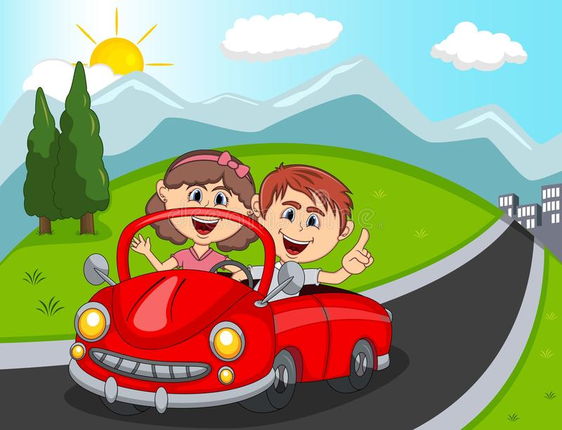 Car, a couple young passengers with hill, mountain and road background cartoon. Full color vector illustration