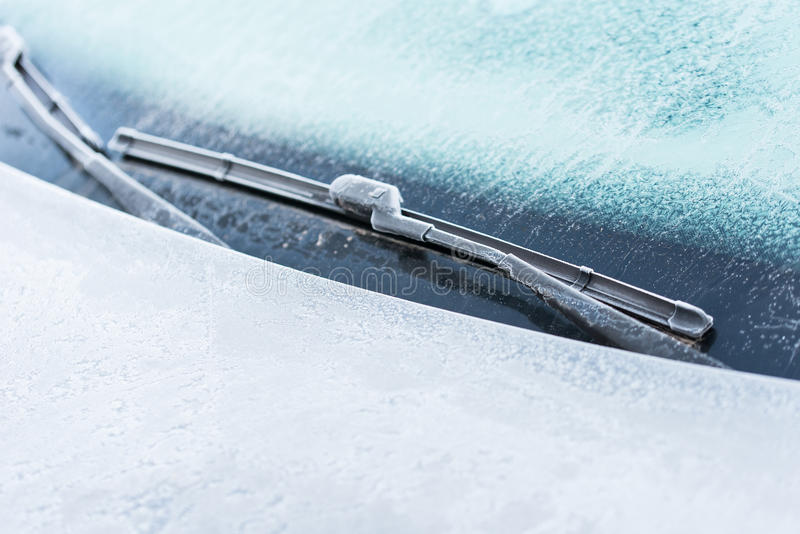 Car covered with frost stock images