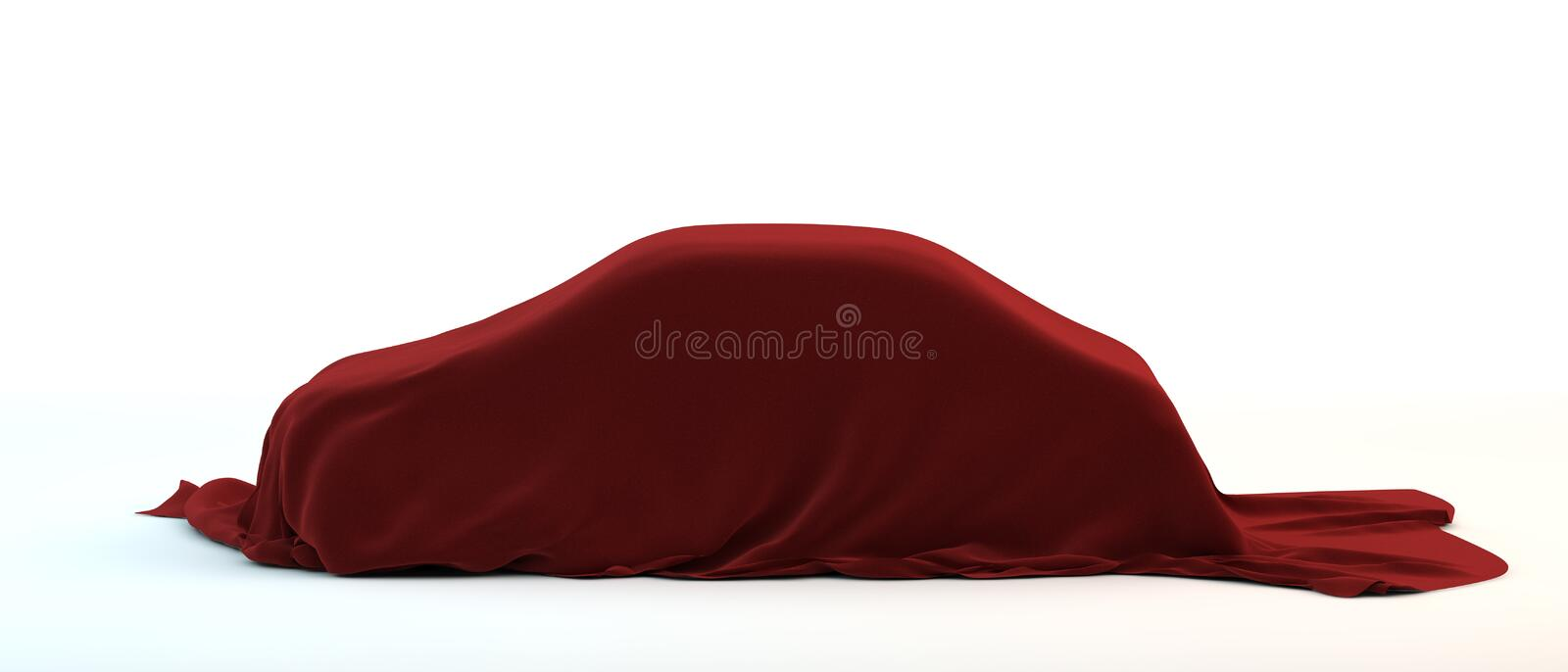 Car covered red fabric