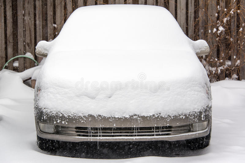 Car Covered in Snow stock image