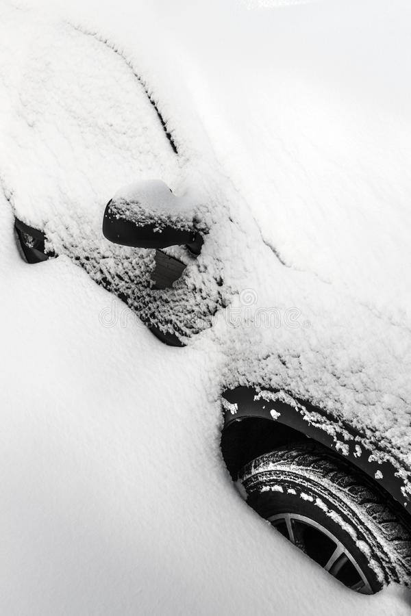 Car under the snow royalty free stock images