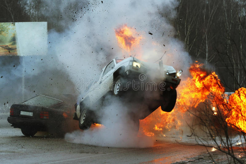 Car crash. Cars have collision at great speed on iced highway royalty free stock photos