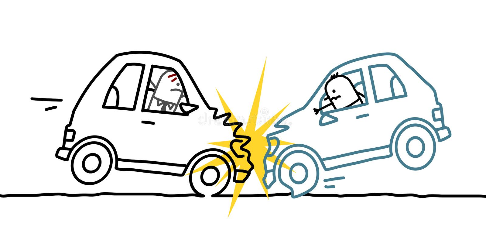 Car crash. Hand drawn cartoon characters - car crash