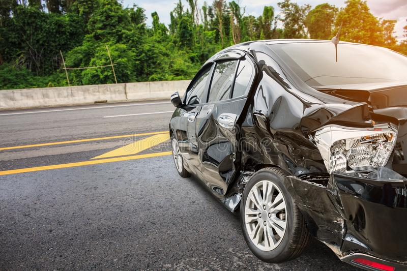 Car crash accident. On the road stock photography