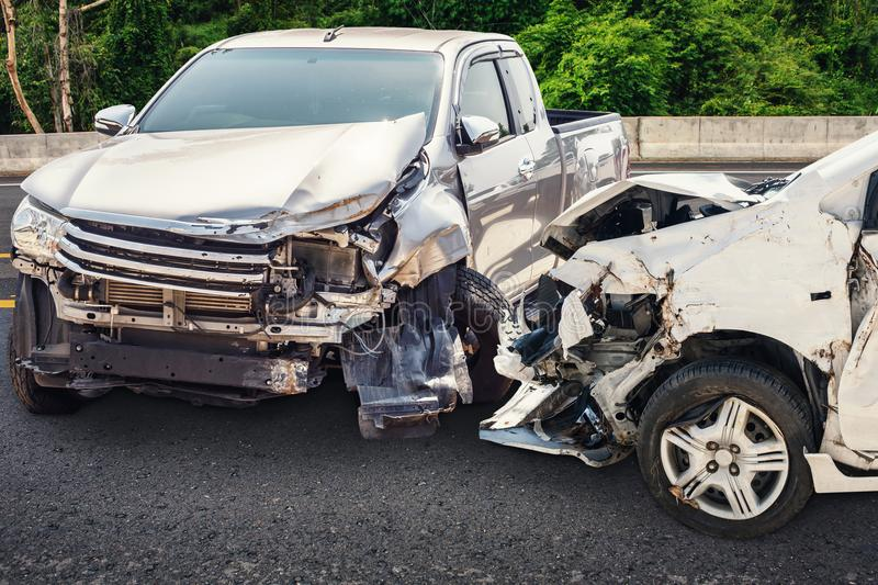 Car crash accident on the road royalty free stock images